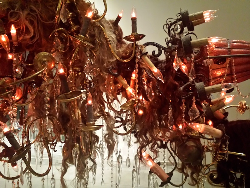"Amelia Biewald ""Perfect From Now On"" 2010 13 chandeliers, blown glass, crystals, wigs"