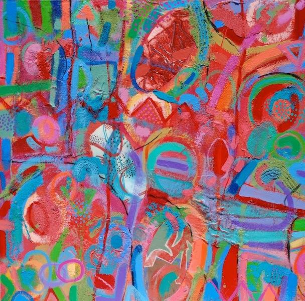 "#1269 Untitled, mixed media acrylic painting on panel, 30x30"""