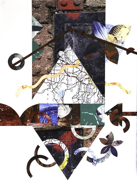 #1273 Have Map Will Travel 5, collage, 30x22""