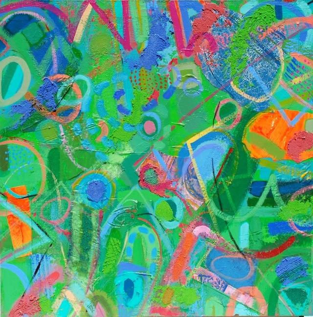 "#1270 Untitled mixed media acrylic painting on panel, 30x30"", 2013"