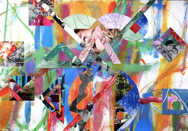 """#1280 Rational Exuberance 1, acrylic painting on paper with collage 22x30"""" 2013"""