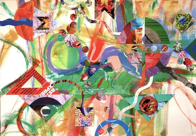 "#1282 Rational Exuberance 3, acrylic painting on paper with  collage 22x30"" 2014"