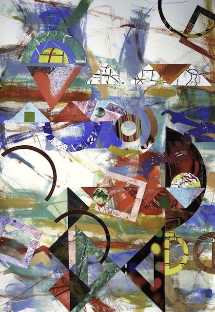 "#1283 Rational Exuberance 4, acrylic painting on paper with  collage, 30x22"", 2014"