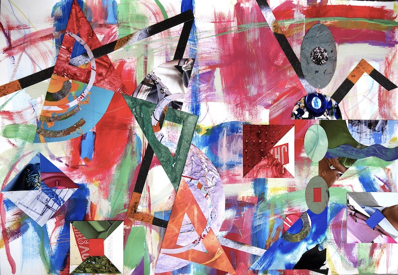 #1281 Rational Exuberance 2, acrylic painting on paper with collage 22x30""